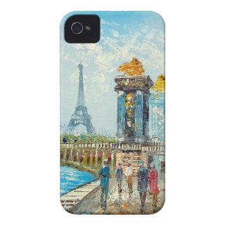 Painting Of Paris Eiffel Tower Scene iPhone 4 Case-Mate Case