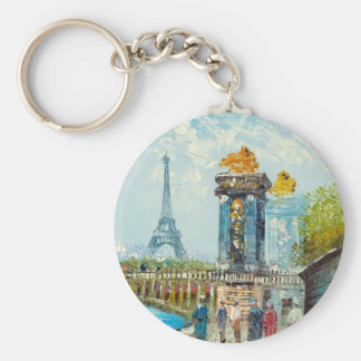 Painting Of Paris Eiffel Tower Scene Key Ring