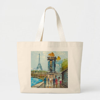 Painting Of Paris Eiffel Tower Scene Large Tote Bag