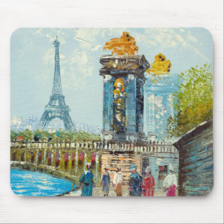 Painting Of Paris Eiffel Tower Scene Mouse Mat