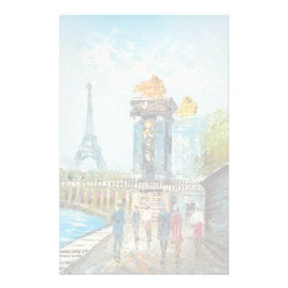 Painting Of Paris Eiffel Tower Scene Stationery
