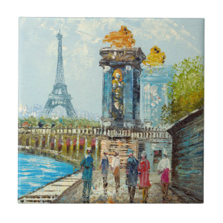 Painting Of Paris Eiffel Tower Scene Tile