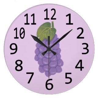 Painting of Purple Grapes on Lavender Clocks