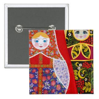 Painting of Russian Matryoshka doll Button