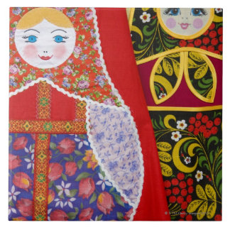 Painting of Russian Matryoshka doll Large Square Tile