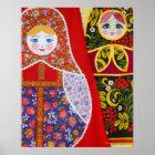 Painting of Russian Matryoshka doll Poster