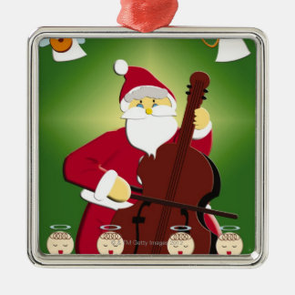 Painting of Santa Claus playing cello with Christmas Ornament