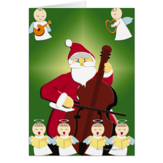 Painting of Santa Claus playing cello with Greeting Card