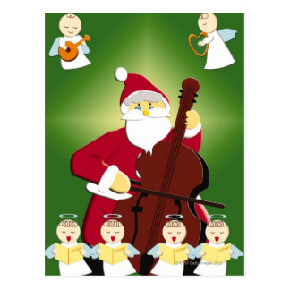 Painting of Santa Claus playing cello with Postcard