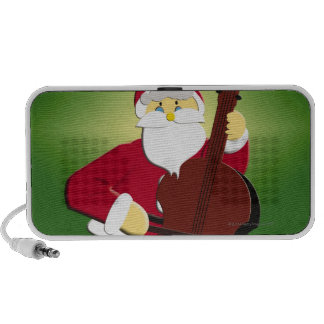 Painting of Santa Claus playing cello with Portable Speaker