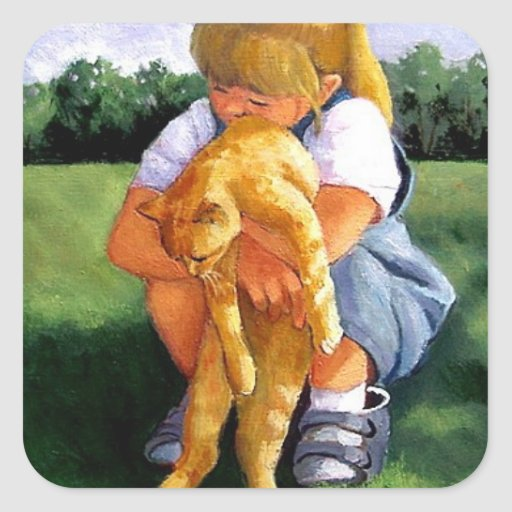Painting Of Small Girl Hugging Cat Sticker