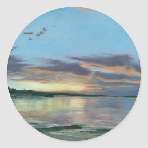 Painting of sunset on beach Oregon Classic Round Sticker