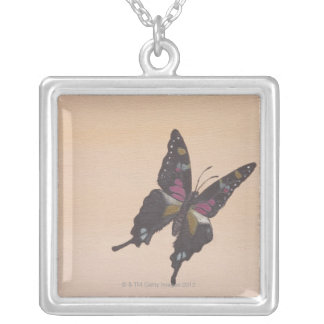 Painting of swallowtail butterfly silver plated necklace