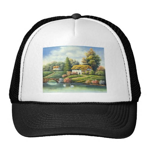 Painting Of Swans On A Lake Near A Home Trucker Hat