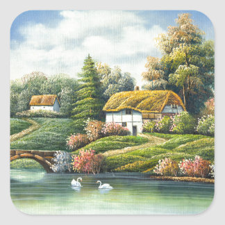 Painting Of Swans On A Lake Near A Home Square Sticker
