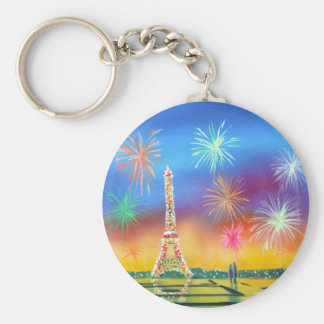 Painting of the Eiffel Tower in Paris Key Ring