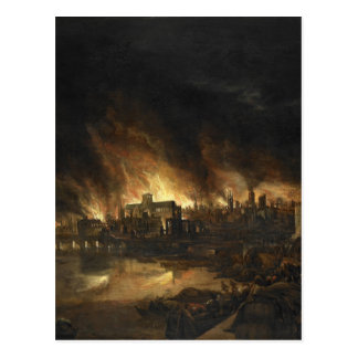 Painting of the Great Fire of London, 17th century Postcard