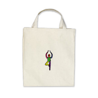 Painting of tree yoga pose. tote bag