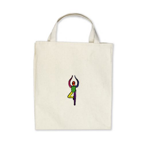 Painting of tree yoga pose. tote bag