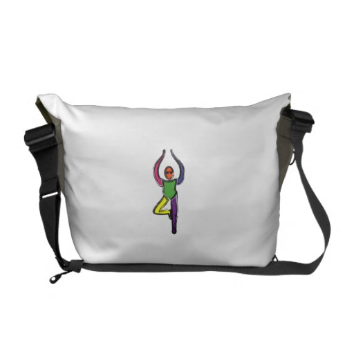 Painting of tree yoga pose. courier bags