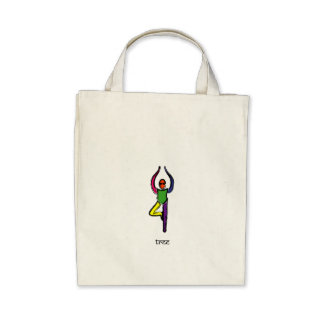 Painting of tree yoga pose with Sanskrit text. Tote Bag