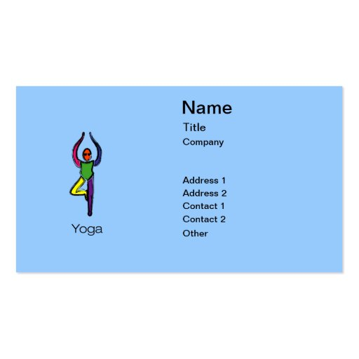 Painting of tree yoga pose with yoga text. business card template