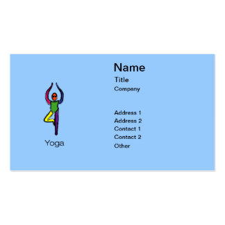 Painting of tree yoga pose with yoga text. pack of standard business cards