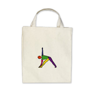 Painting of triangle yoga pose. bags