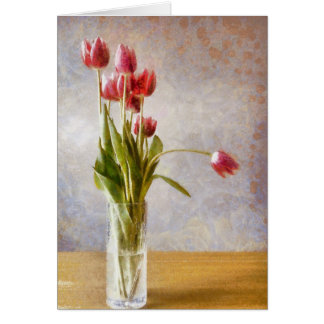 Painting of tulips in vase card