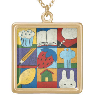Painting of Various Objects by Chariklia Zarris Gold Plated Necklace