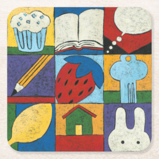 Painting of Various Objects by Chariklia Zarris Square Paper Coaster