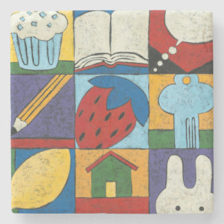Painting of Various Objects by Chariklia Zarris Stone Coaster