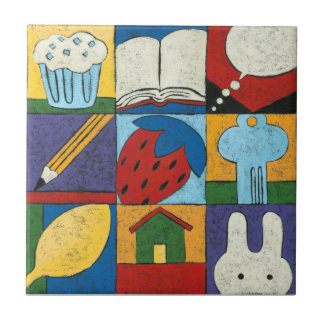 Painting of Various Objects by Chariklia Zarris Tile