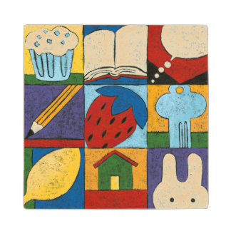 Painting of Various Objects by Chariklia Zarris Wood Coaster