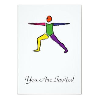 Painting of Warrior 2 yoga pose. 13 Cm X 18 Cm Invitation Card