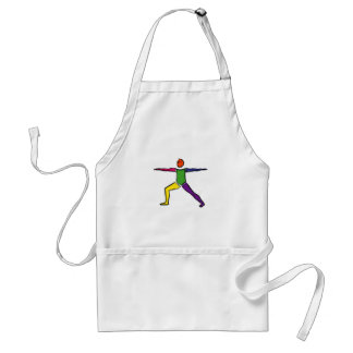 Painting of Warrior 2 yoga pose. Apron