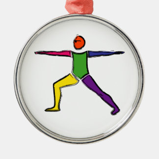 Painting of Warrior 2 yoga pose. Christmas Ornament