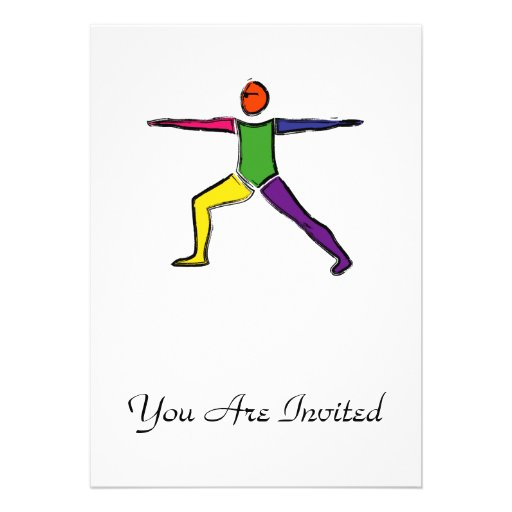 Painting of Warrior 2 yoga pose. Personalized Announcement