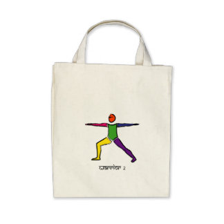 Painting of Warrior 2 yoga pose & Sanskrit text. Tote Bags