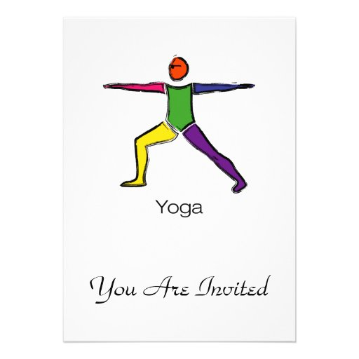 Painting of Warrior 2 yoga pose with yoga text. Card