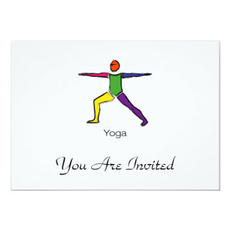 Painting of Warrior 2 yoga pose with yoga text. 13 Cm X 18 Cm Invitation Card