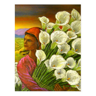 Painting Of Woman With Calla Lilies Postcard