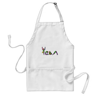 Painting of yoga poses spelling YOGA. Standard Apron