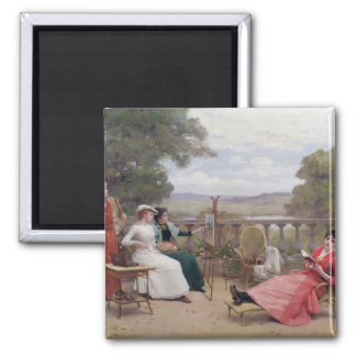 Painting on the Terrace Square Magnet