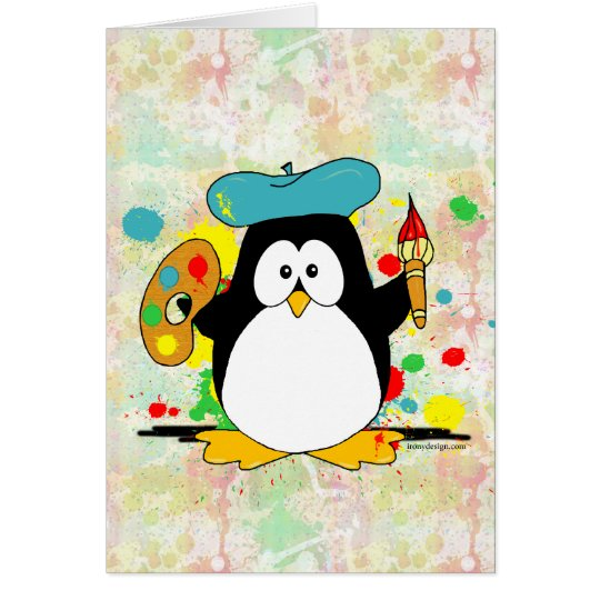 Painting Penguin Painter Card
