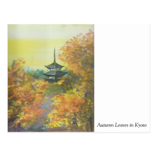 Painting Postcard Autumn Leaves in Kyoto