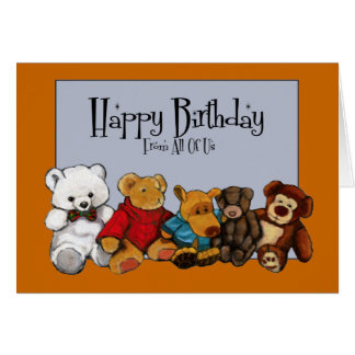 Painting: Stuffed Animals: Birthday From All Of Us Card