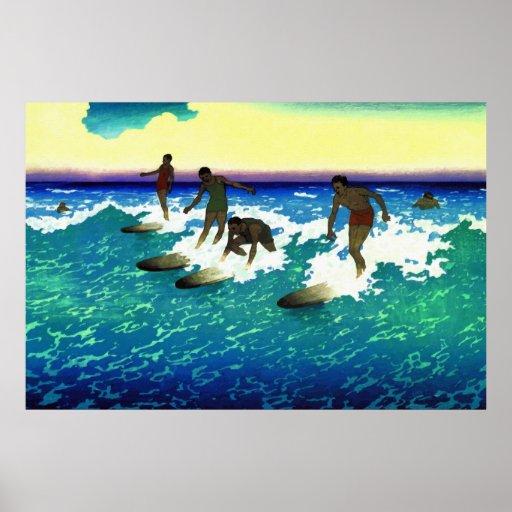 Painting surf riders Honolulu Poster