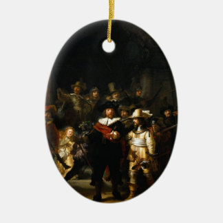 Painting The Night Watch by Rembrandt van Rijn Ceramic Oval Decoration
