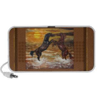painting two horses laptop speaker